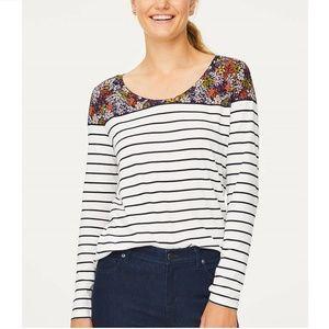 LOFT Floral Striped Scoop Neck Long Sleeve Top XL